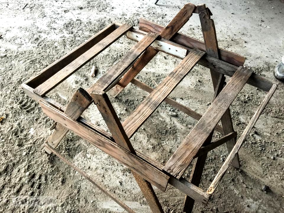 Vintage berry picking tray stand found in a barn