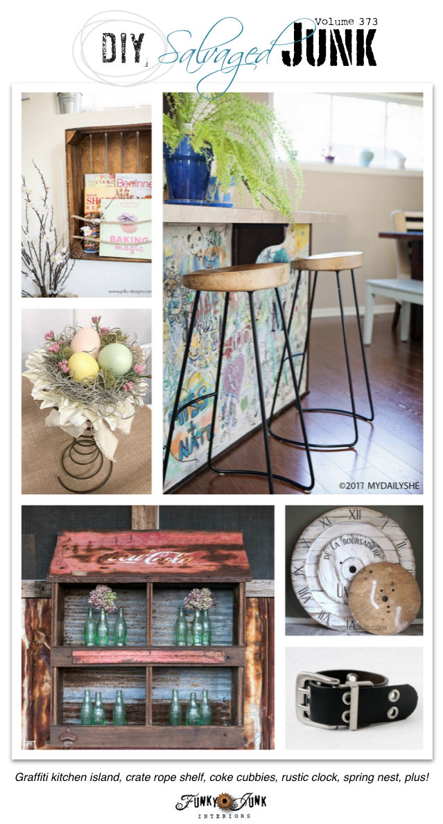 DIY Salvaged Junk Projects 373 - Graffiti kitchen island, crate rope shelf, coke cubbies, rustic clock, spring nest, plus! on funkyjunkinteriors.net