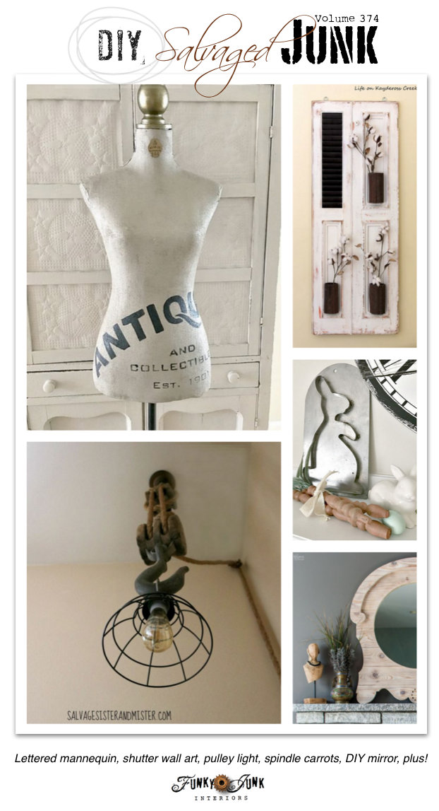 DIY Salvaged Junk Projects 374 - Lettered mannequin, shutter wall art, pulley light, spindle carrots, DIY mirror, plus! on funkyjunkinteriors.net
