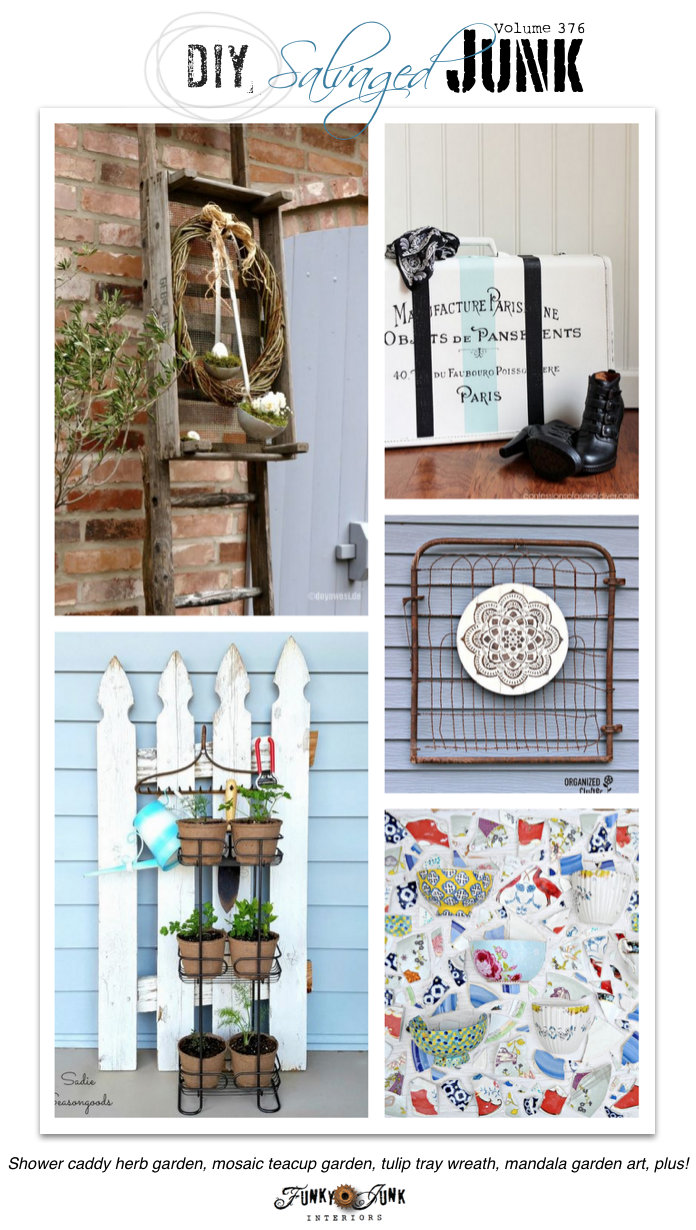 DIY Salvaged Junk Projects 376 - Shower caddy herb garden, mosaic teacup garden, tulip tray wreath, mandala garden art, plus! Features and a junk themed linkup on funkyjunkinteriors.net