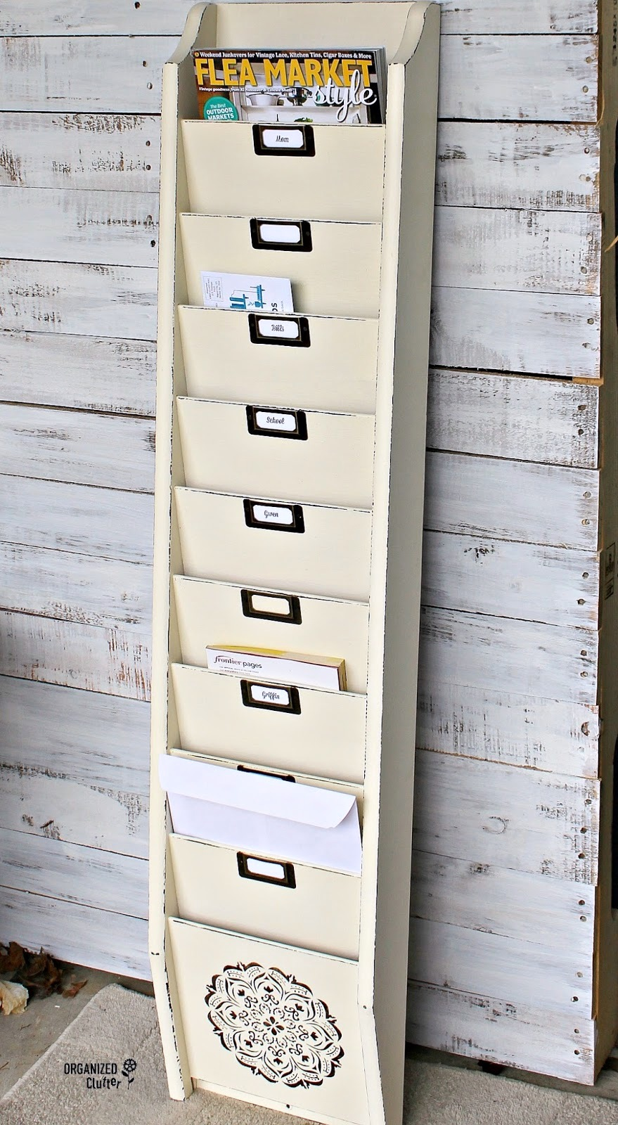 Magazine holder into file organizer, by Organized Clutter, featured on Funky Junk Interiors