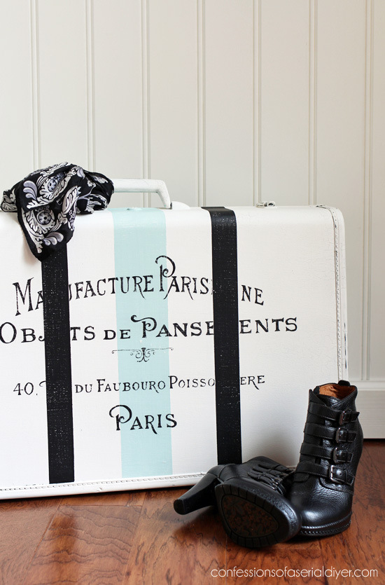 Vintage suitcase makeover, by Confessions of a Serial DIYer, featured on Funky Junk Interiors