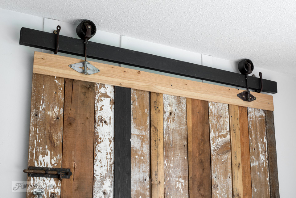 A Cheater Reclaimed Wood Barn Door Headboard With Faux Hardware Get The Look Without