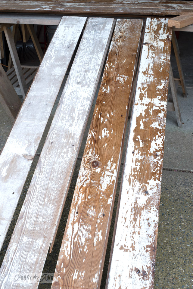 How to seal and protect chippy barn wood, using Fusion Mineral Paint's Tough Coat, part of a Barn Door Tutorial on funkyjunkinteriors.net