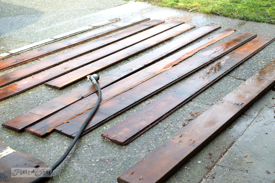 How to wash and protect chippy barn wood, part of a Barn Door Tutorial on funkyjunkinteriors.net
