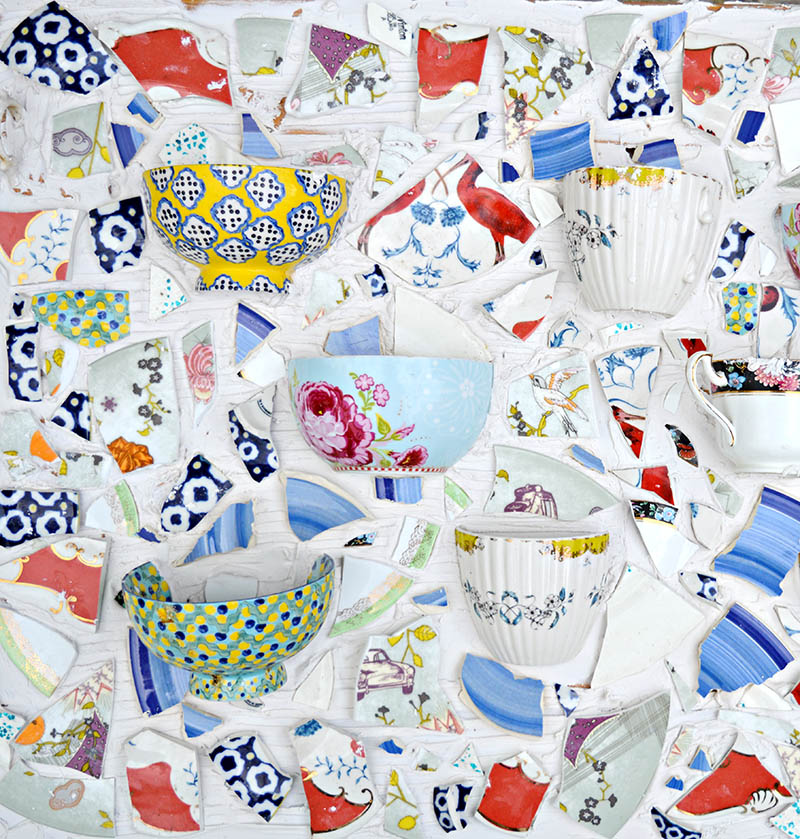 Broken teacup mosaic wall planter, by Pillar Box Blue, featured on Funky Junk Interiors