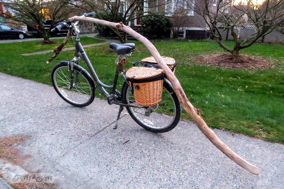 Big stick find during a nature bike ride | funkyjunkinteriors.net