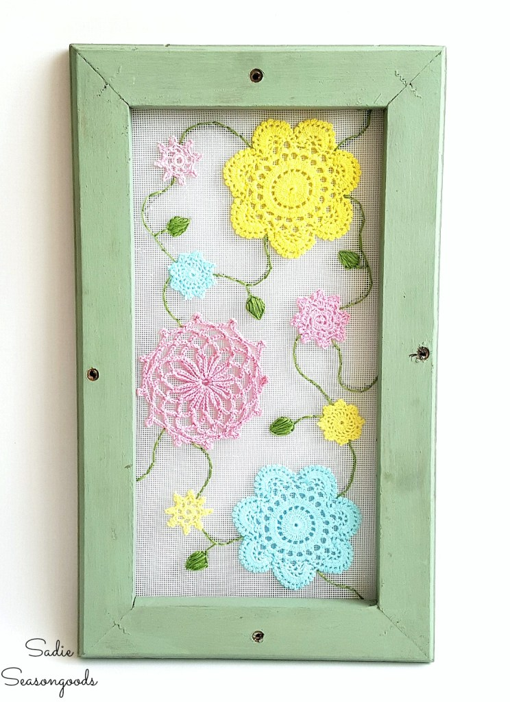 Screen doily flower art, by Sadie Seasongoods, featured on Funky Junk Interiors