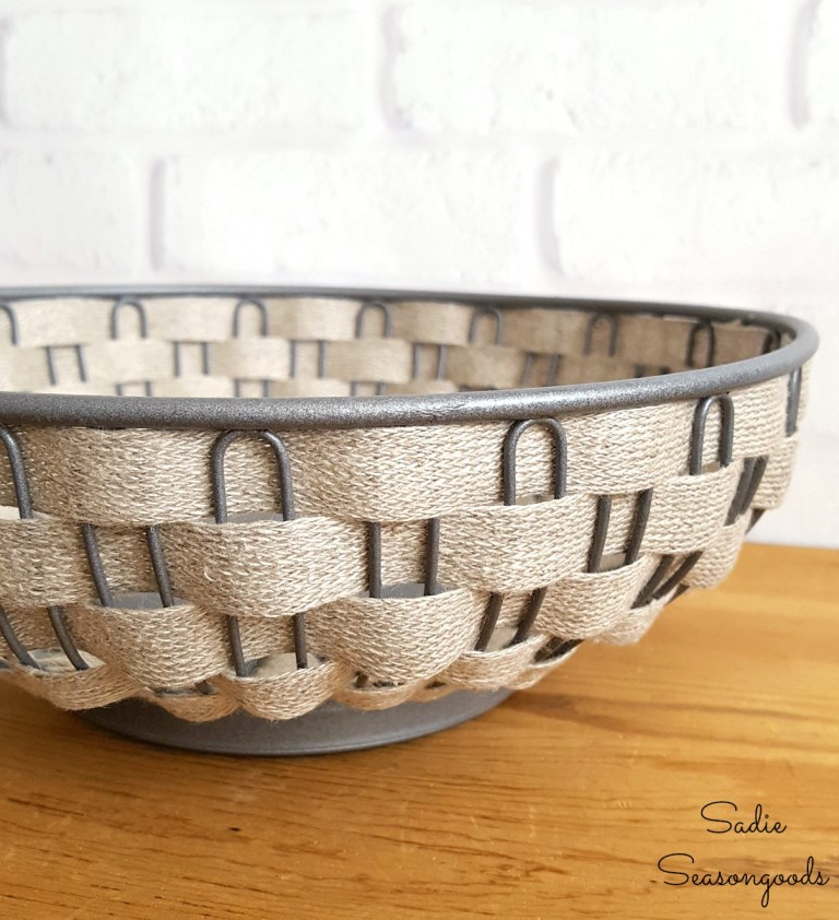 Woven metal bread basket, by Sadie Seasongoods, featured on Funky Junk Interiors