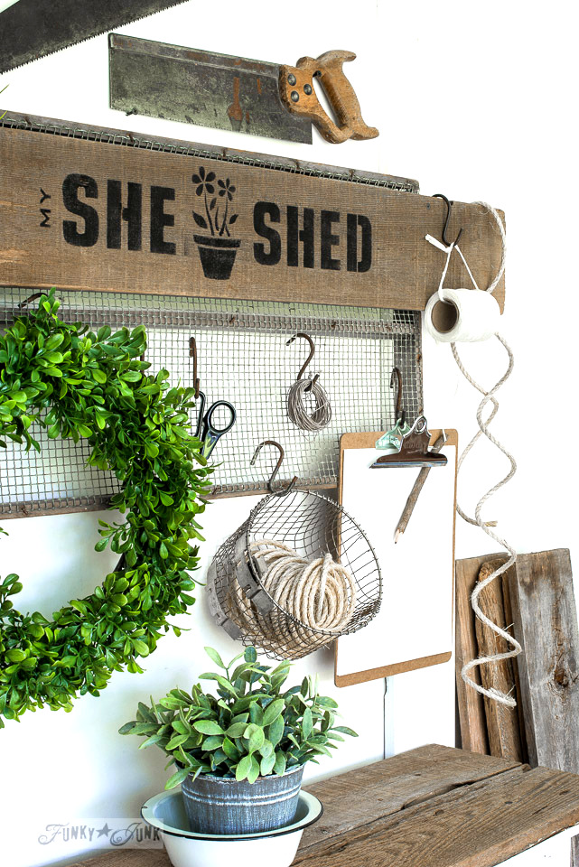 She Shed gardening station sign by Funky Junk Interiors