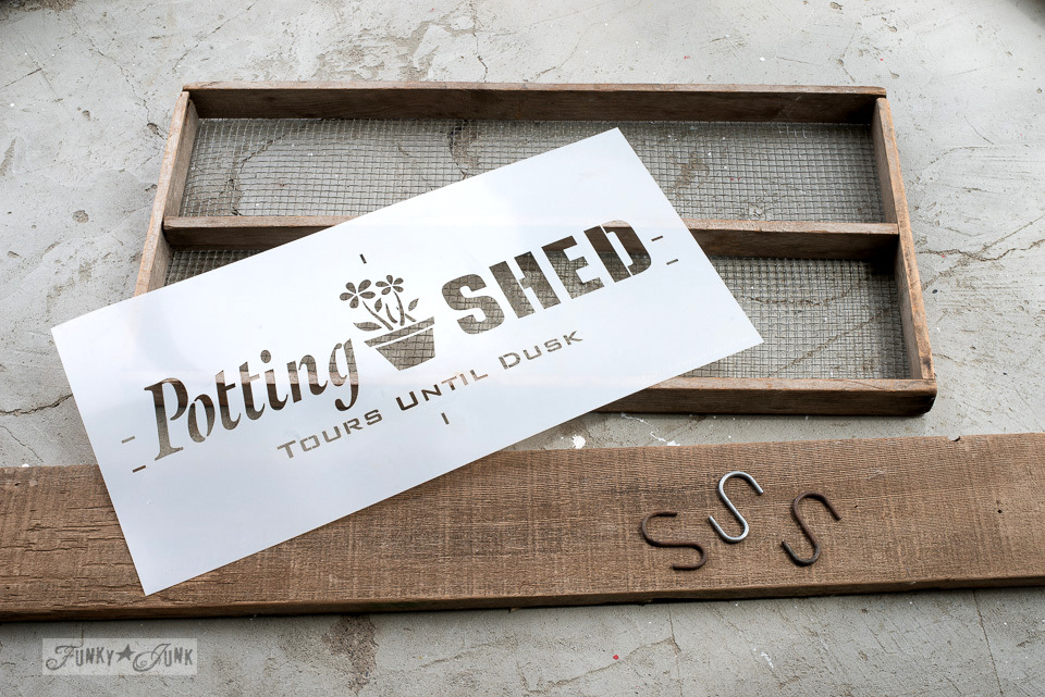 She Shed soil sifter gardening station with Funky Junk's Old Sign Stencils Potting Shed | funkyjunkinteriors.net