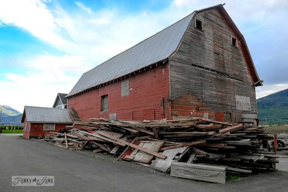 One barn down, however the main one still remains. A story on salvaging wood and memories from my childhood farm.