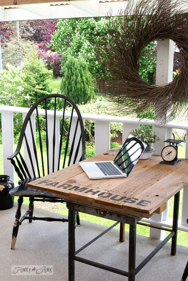 Farmhouse styled patio table from reclaimed wood and Funky Junk's Old Sign Stencils