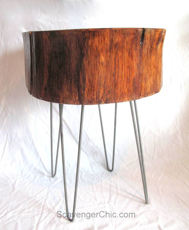 Wood slice end table with pin legs, by Scavenger Chic, featured on Funky Junk Interiors