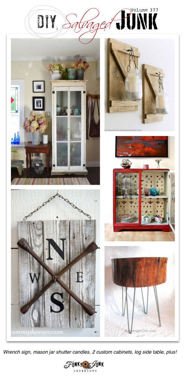 DIY Salvaged Junk Project 377 - features and a themed link party on funkyjunkinteriors.net