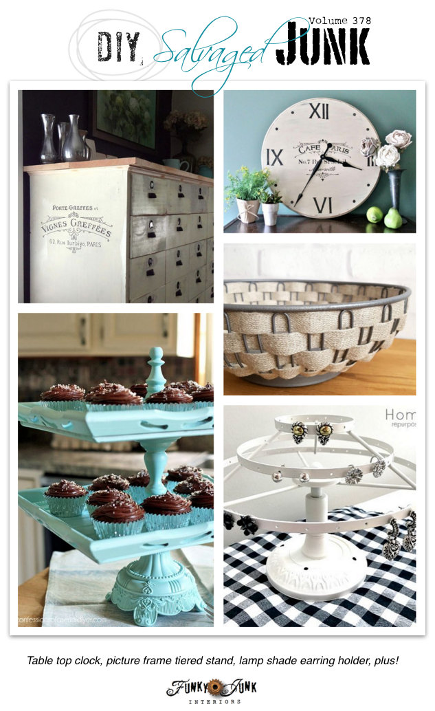 DIY Salvaged Junk Projects 378 - table top clock, picture frame stand, lamp shade earring holder, and more! On funkyjunkinteriors.net
