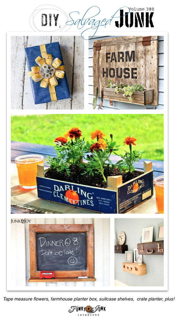 DIY Salvaged Junk Projects 380 - tape measure flowers, barn door planter, crate planterbox, old window chalkboard, suitcase shelves, and more! funkyjunkinteriors.net