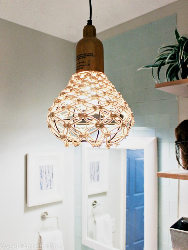 DIY Macrame Pendant, by Sweet Parrish Place, featured on Funky Junk Interiors