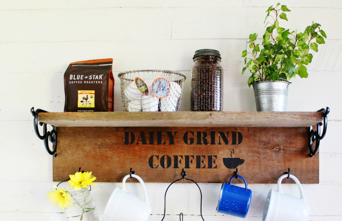 Reclaimed Wood Mug Shelf Coffee Station By Knick Of Time, Featured On Funky  Junk Interiors