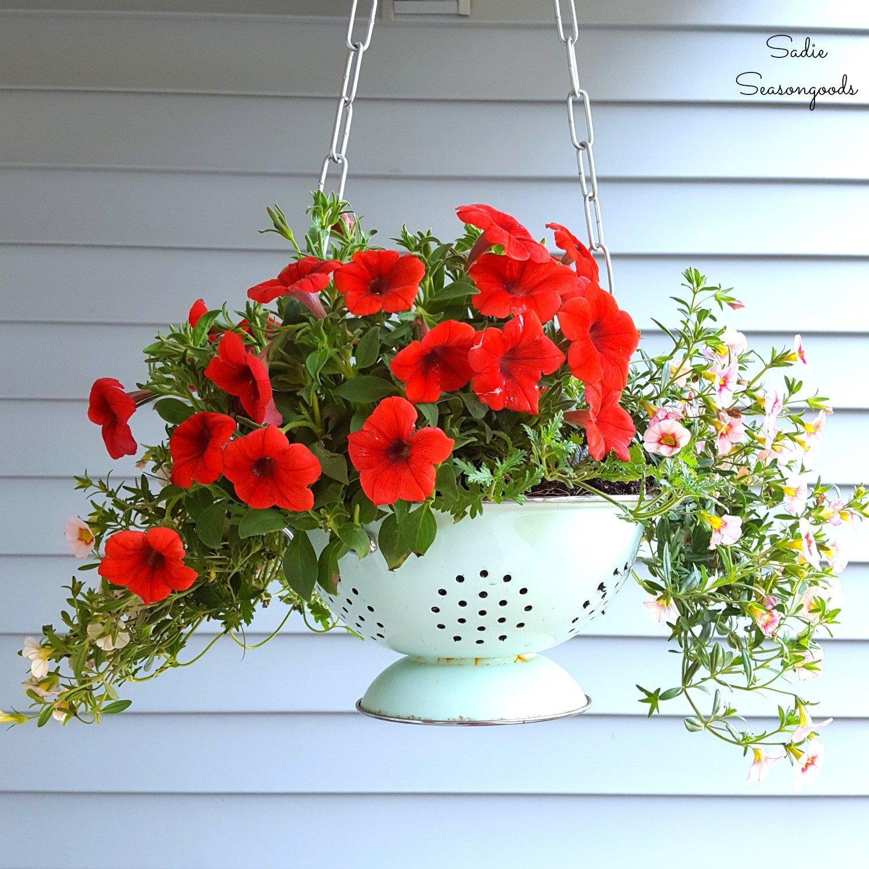 Vintage enamel colander hanging basket planter, by Sadie Seasongoods, featured on Funky Junk Interiors