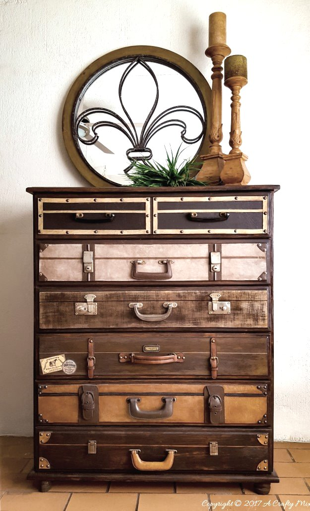 Epic stack of suitcases dresser, by A Crafty Mix, featured on Funky Junk Interiors