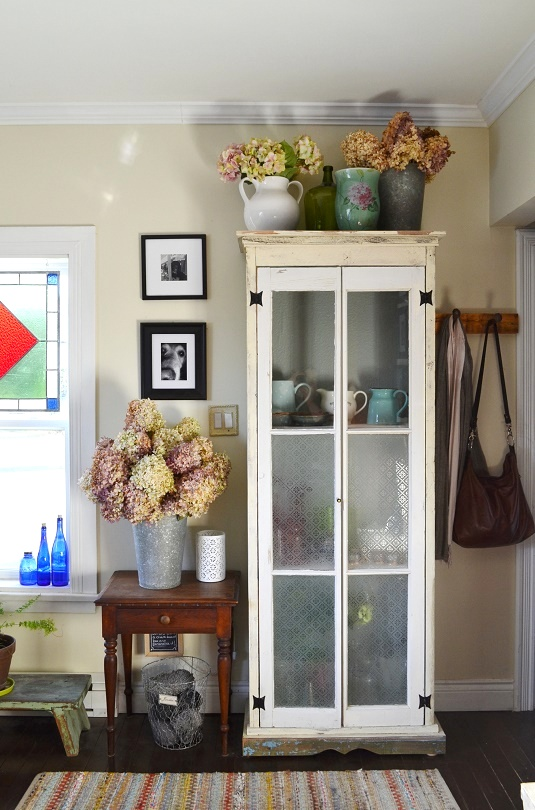 2 door reclaimed wood cupboard, by Sharon M for The Home, featured on Funky Junk Interiors