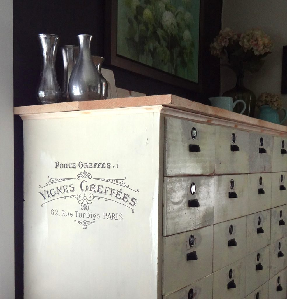 Card file styled antique cabinet, by Sharon M for the Home, featured on Funky Junk Interiors