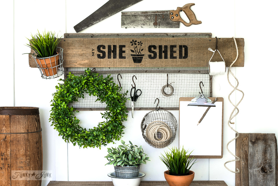 She Shed garden sign with Funky Junk's Old Sign Stencils using Potting Shed