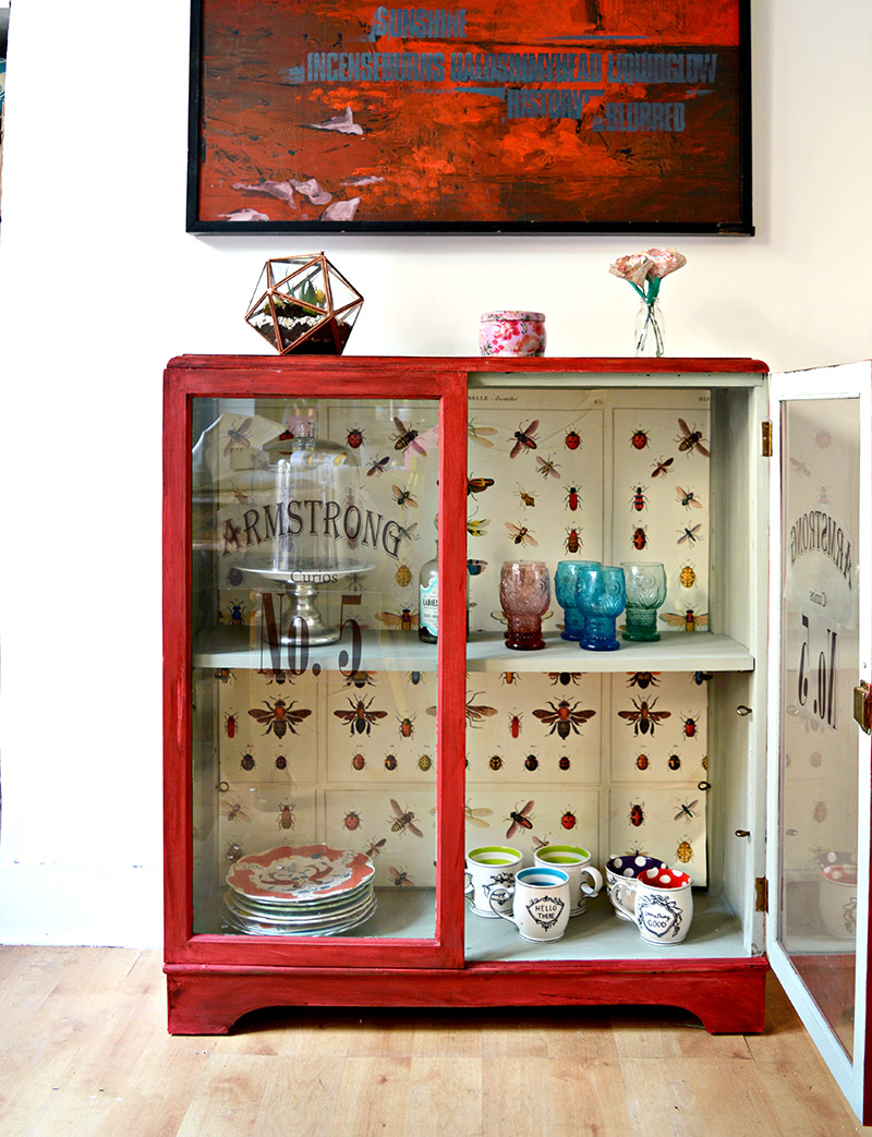 Decoupaged cupboard up-cycle, by Pillar Box Blue, featured on Funky Junk Interiors