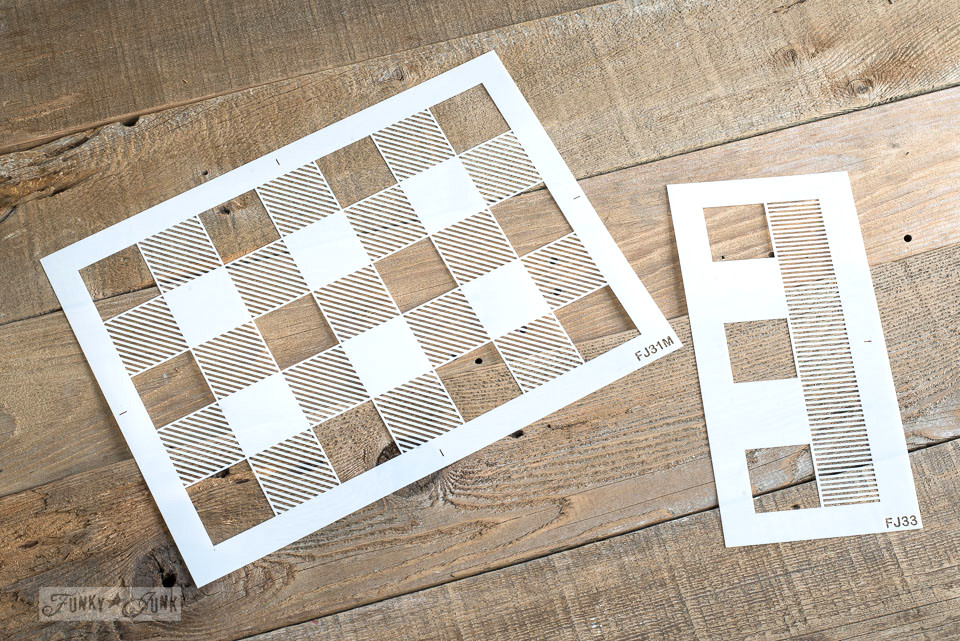 Learn how to Buffalo Check anything desired with this pattern stencil by Funky Junk's Old Sign Stencils! #buffalocheck #buffaloplaid #funkyjunksoldsignstencils #funkyjunkinteriors