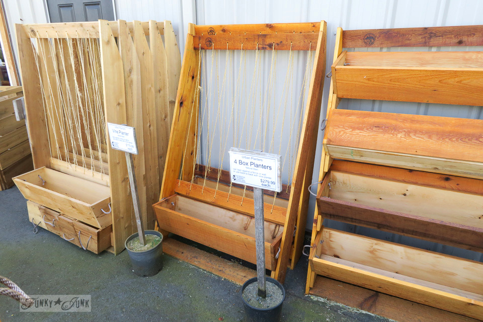 Cedar stacked box and vine planters, from Five Maples Nursery Garden Centre in Abbotsford, BC | funkyjunkinteriors.net