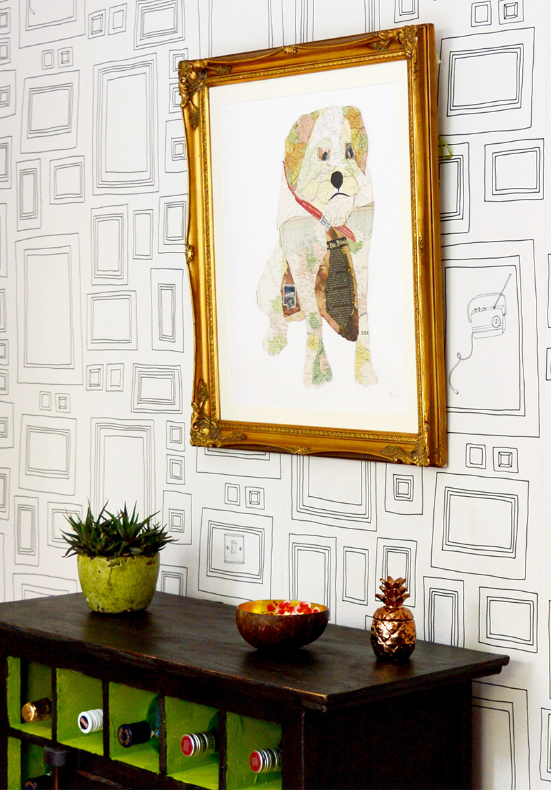 Pet portrait map art, by Pillar Box Blue, featured on Funky Junk Interiors