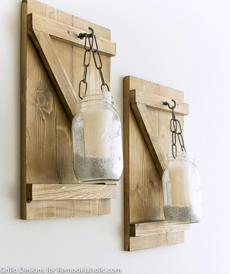 Shutter styled mason jar candle holders, by Grillo Designs , featured on Funky Junk Interiors
