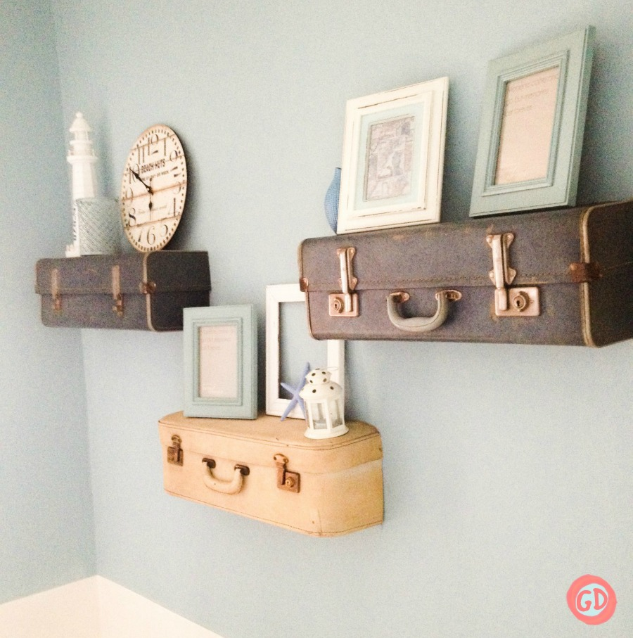 Vintage suitcase shelves, by Grillo Designs, featured on Funky Junk Interiors