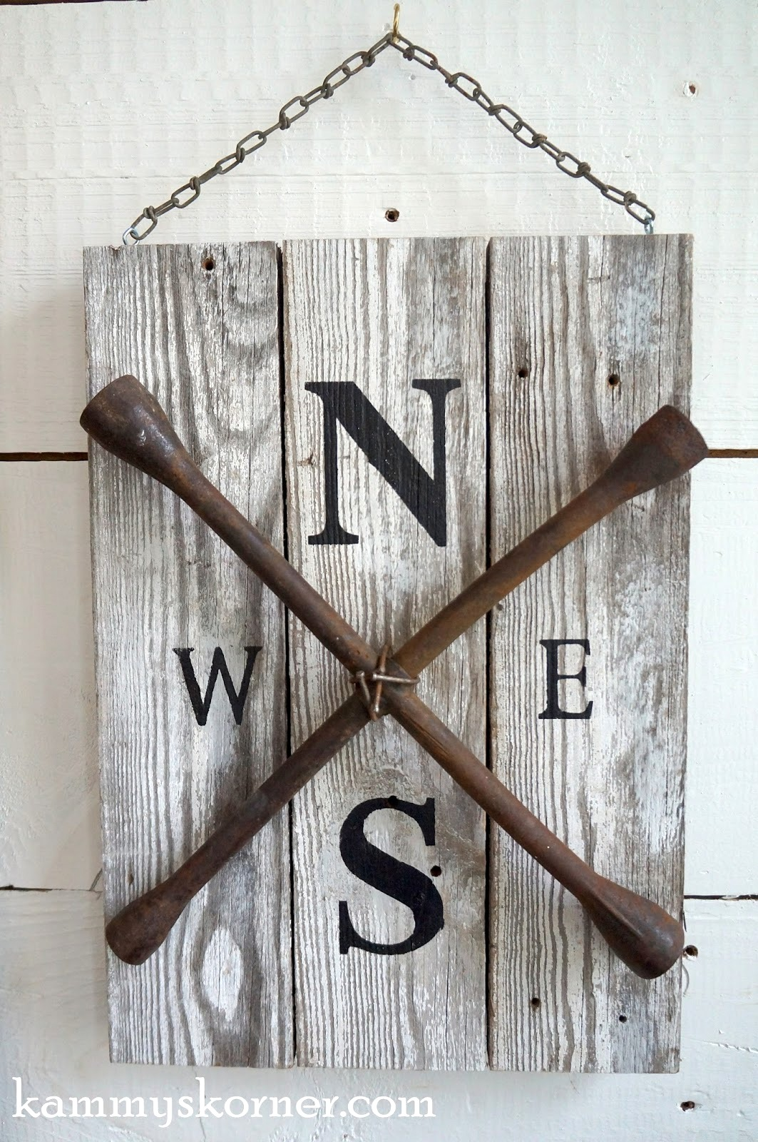 Lug wrench compass sign, by Kammy's Korner, featured on Funky Junk Interiors