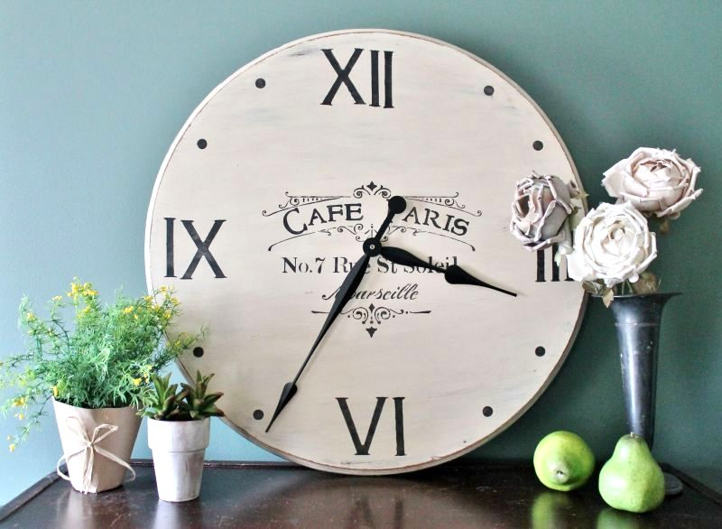 Table top farmhouse clock, by Adirondack Girl At Heart, featured on Funky Junk Interiors