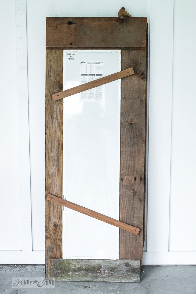 How to support the back of the mirror inside a new reclaimed wood frame.