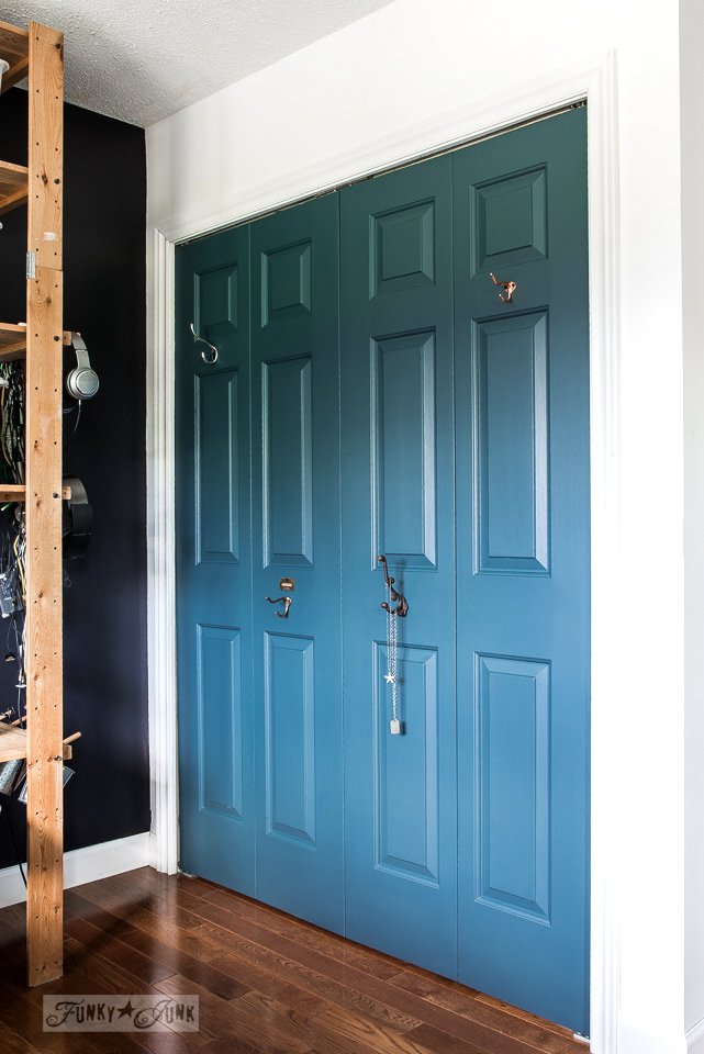 Painted closet doors Creative Homestead Blue Fusion Mineral Paint Closet Doors With Hooks In The Boys Bedroom Funkyjunkinteriors Funky Junk Interiors Blue Closet Doors With Hooks In The Boys Bedroomfunky Junk Interiors