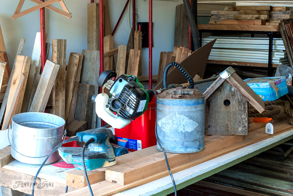 A messy garage workshop about to be purged, part of Why cleaning in small increments wins this race. | funkyjunkinteriors.net