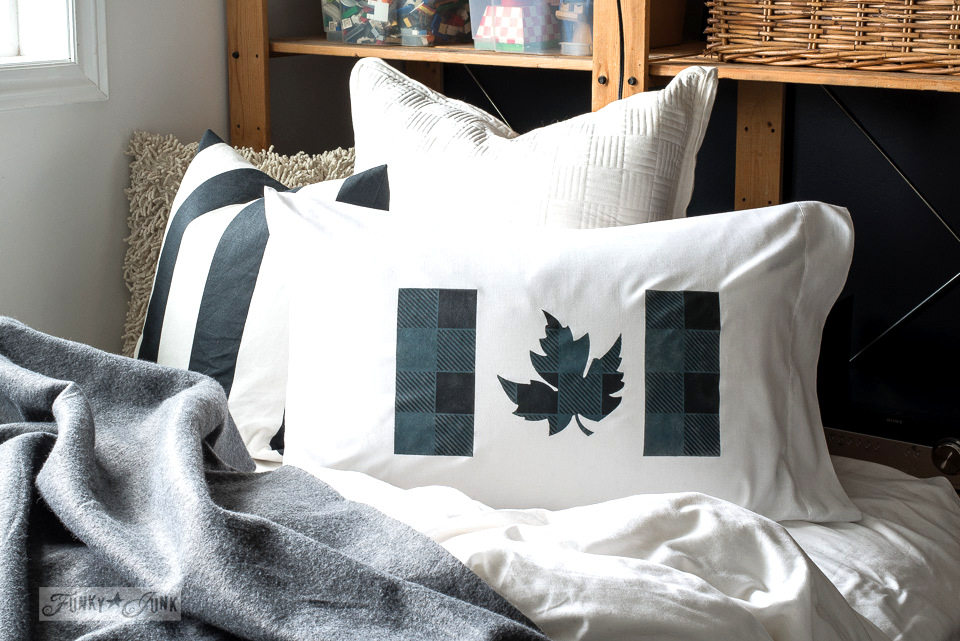 A blue and black Buffalo Checked Canadian Flag pillow in a teen's room. Layered with Funky Junk's Old Sign Stencils, Muddaritaville Studio and Fusion Mineral Paint | funkyjunkinteriors.net