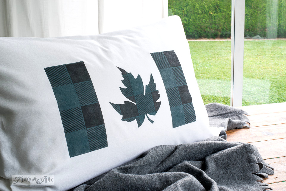 Buffalo Check and Canadian Flag stenciled pillow created with stencils and paint - tutorial at funkyjunkinteriors.net