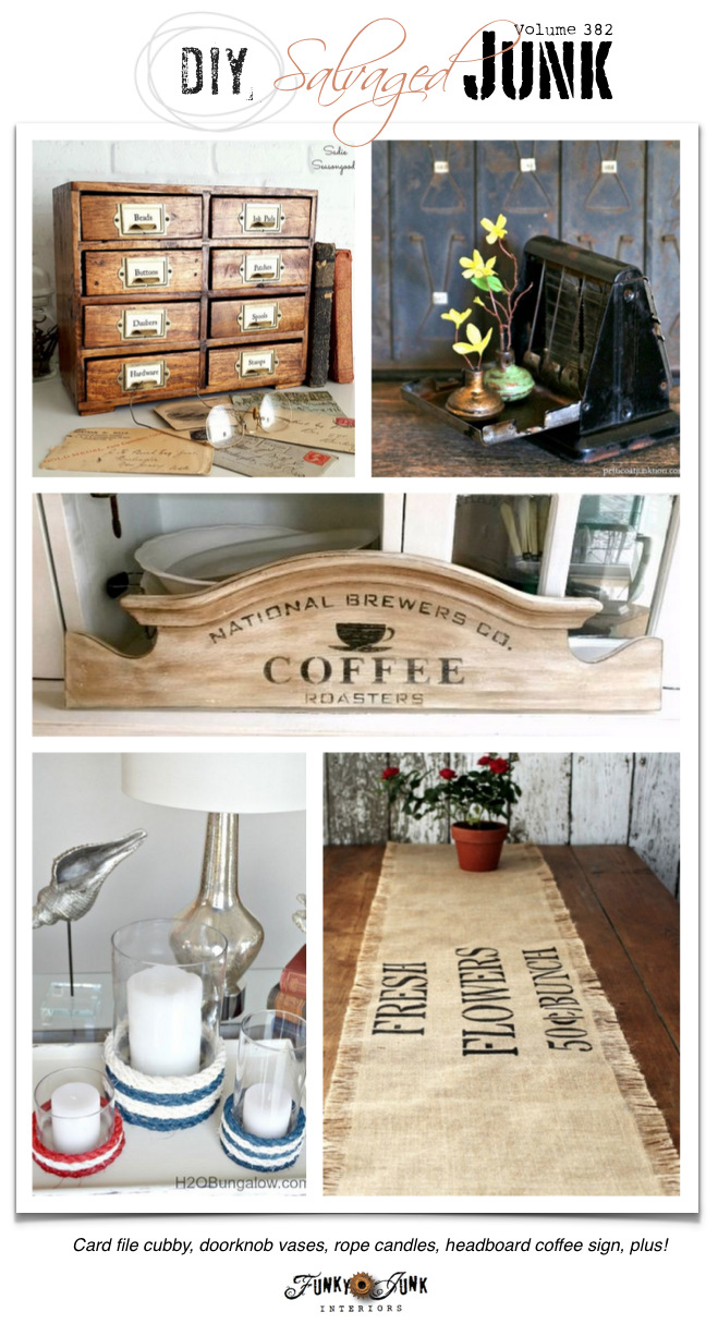 DIY Salvaged Junk Projects 382 - Card file cubby, doorknob vases, rope candles, headboard coffee sign, plus! Features and a themed link party on funkyjunkinteriors.net