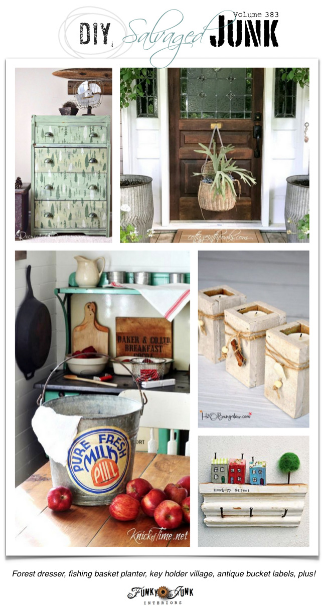 DIY Salvaged Junk Projects 383 - Forest dresser, fishing basket planter, key holder village, antique bucket labels, plus! Junk features and a link party on funkyjunkinteriors.net