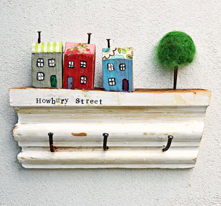 Upcycled scrap wood wall key holder with charming village, by Pillar Box Blue, featured on Funky Junk Interiors