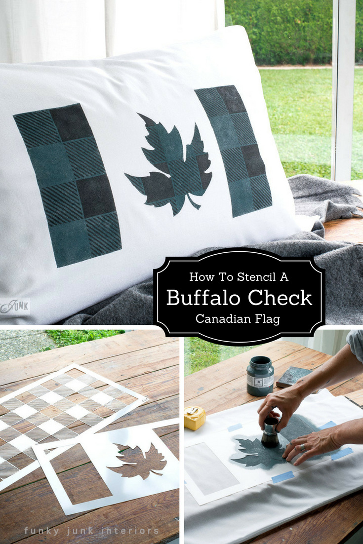 How to stencil a cozy buffalo check design inside a unique Canadian flag design (or use this method inside any design!) using stencils! Buffalo Check is by Funky Junk's Old Sign Stencils and flag is from Muddaritaville Studio. Tutorial on funkyjunkinteriors.net