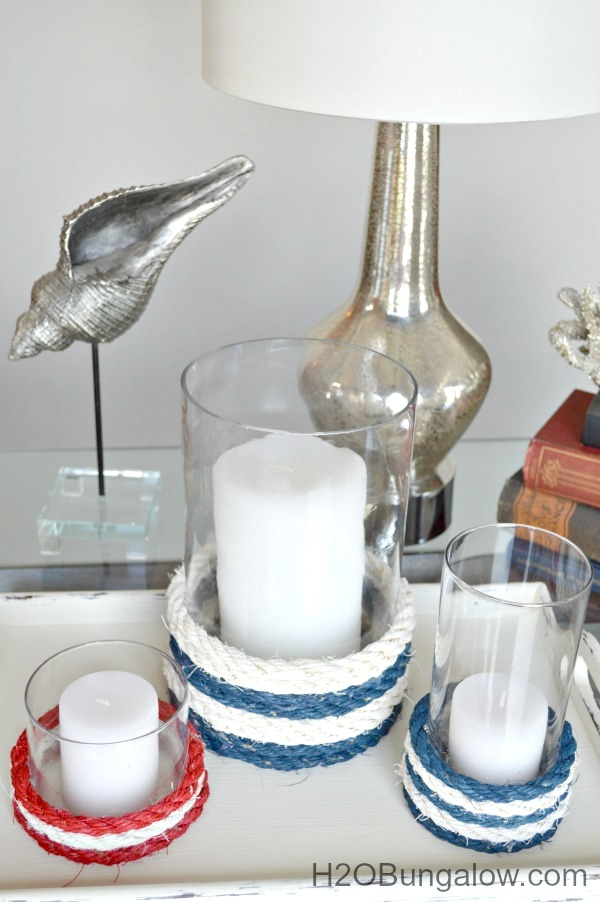 Nautical rope candle holders by H2O Bungalow, featured on Funky Junk Interiors