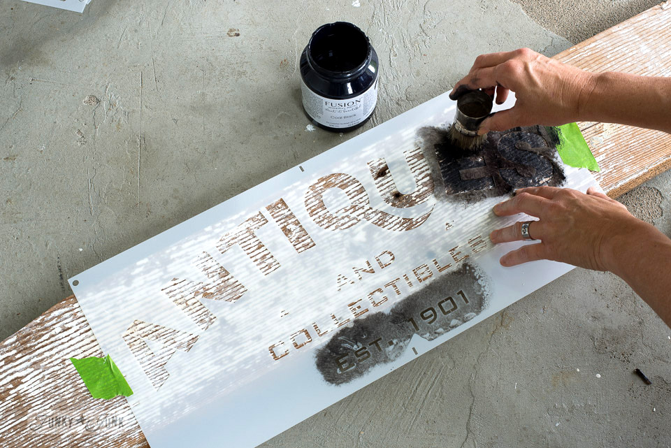 How to create an Antiques sign onto reclaimed wood using Funky Junk's Old Sign Stencils and Fusion Mineral Paint | funkyjunkinteriors.net