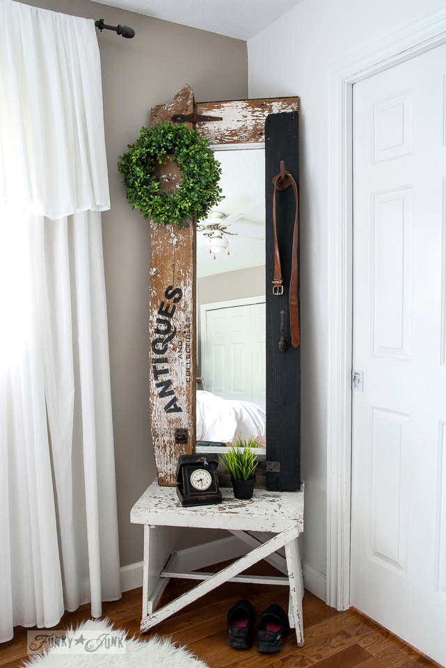How to make a reclaimed wood Antiques hall tree mirror for the bedroom, made with Funky Junk's Old Sign Stencils | funkyjunkinteriors.net