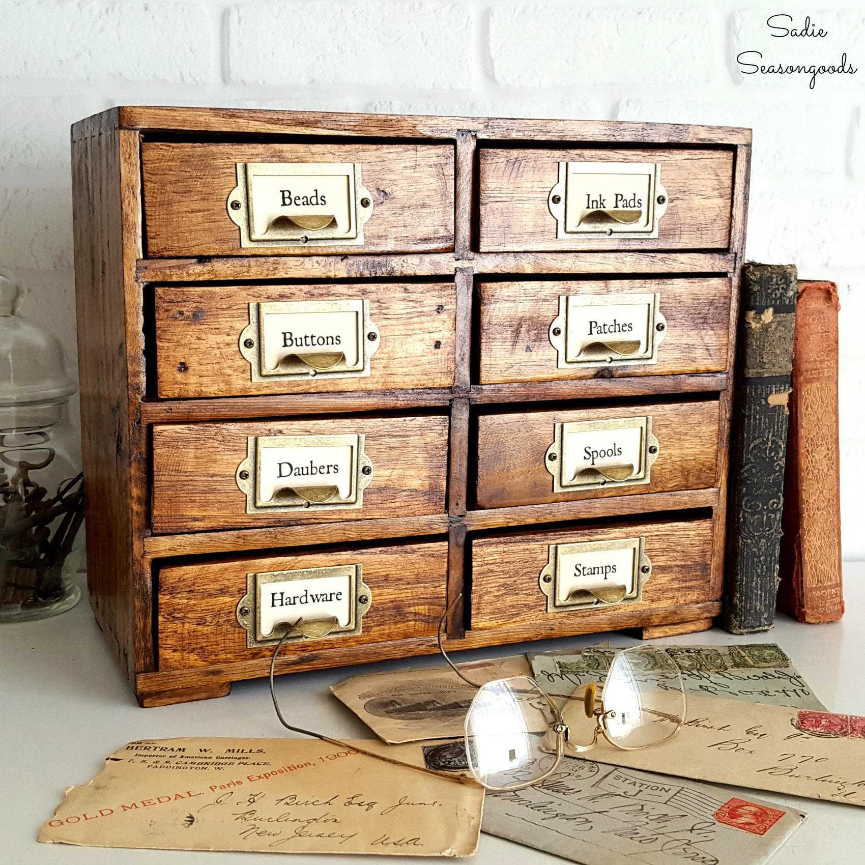 Card catalog cubby makeover by Sadie Seasongoods, featured on Funky Junk Interiors