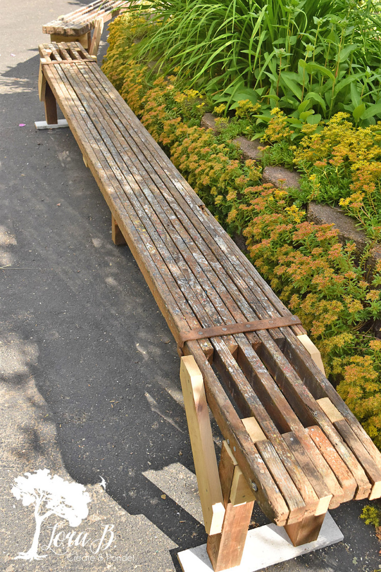 Rustic scaffold bench by Lora B, featured on Funky Junk Interiors